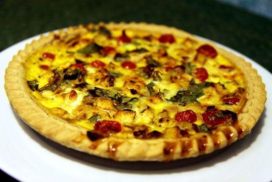 Tofu, Tomato, and Basil Quiche. #vegetarian #recipe