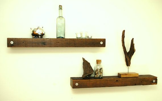Floating Reclaimed Wood Shelves