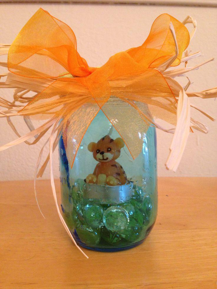 baby shower blue mason jar centerpiece baby shower ideas pinterest