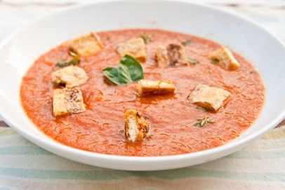 Roasted tomato and grilled corn soup. | NOM NOM YUMMY! | Pinterest
