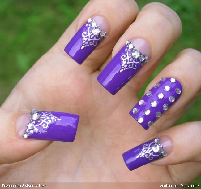 Silver Nail Art Designs: Royal Purple & Silver Nail Art