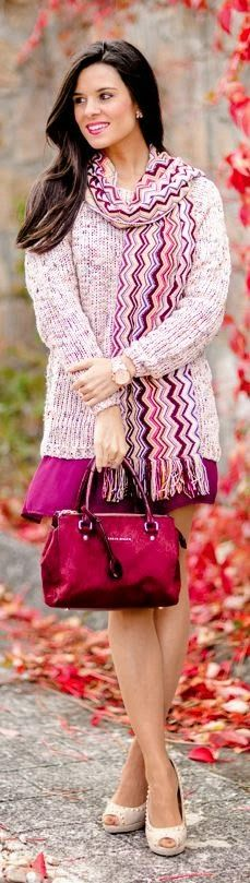 Stylish matching pink fall outfit
