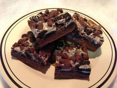 Gooey Cookies and cream double chocolate cake bars!!!! Yummy!
