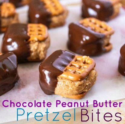 Chocolate Covered Pretzel Peanut Butter Bites