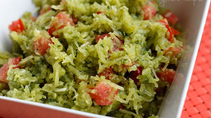 Spaghetti Squash Pesto with Tomatoes | Let's Stay Fit! | Pinterest