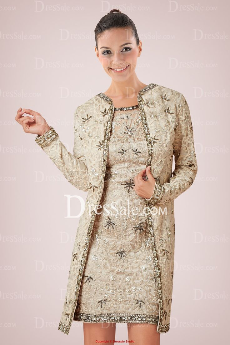 Luxurious lace knee length mother of bride dress adorned for Dresses for mother of the bride winter wedding