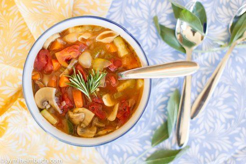 Hearty vegetable soup with shells vegetarian recipe