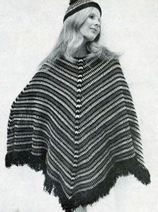 Vintage poncho & cap in cluster stitch, free Patons pattern  #crochet