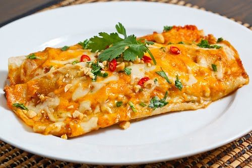 Thai Spicy Peanut Chicken Enchiladas | Recipe