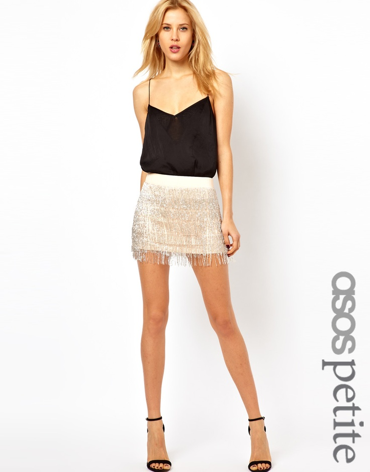 leather wallets women PETITE Exclusive Embellished Fringed Skirt