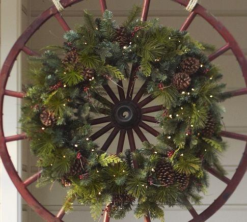 wreath on an old wagon wheel