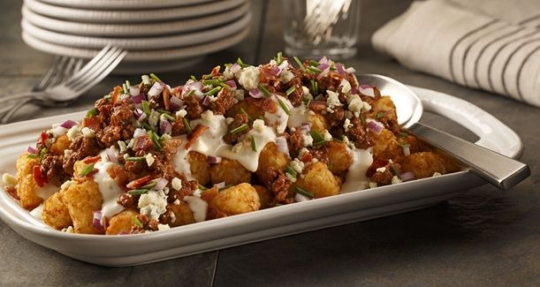 "Blue Cheese Burger Totchos. I love the word ""totchos""."