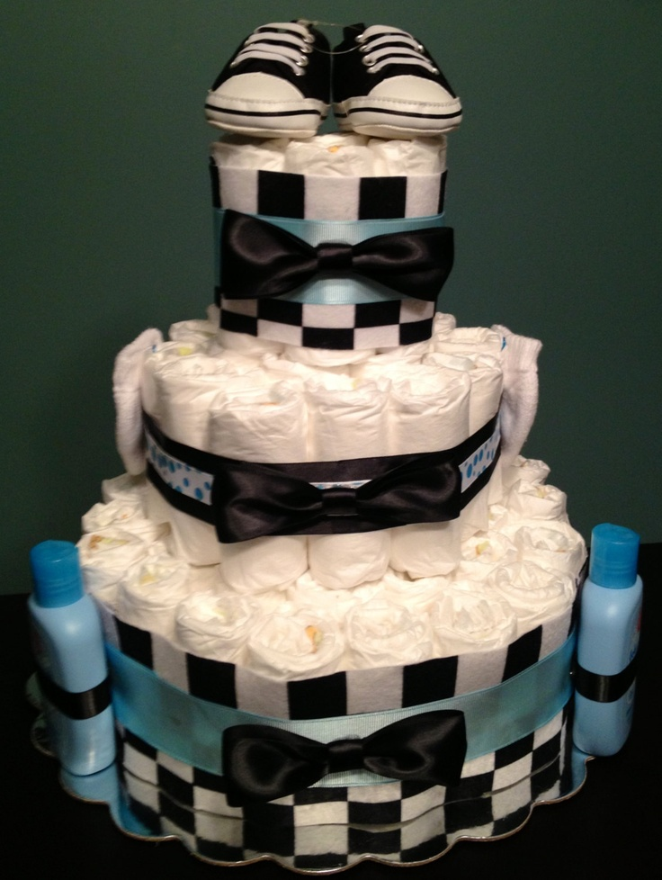 65 diaper cake bow tie theme blue black checkered boy baby shower