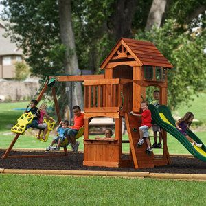 "Adventure Play Sets Atlantis Wooden Swing Set (switch places with slide and ladder) $599  18' 1"" L x 7' 9 1/2"" W x 9' 3 1/2"" H  Cedar"