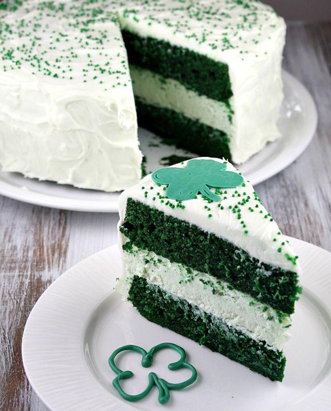 Green Velvet Cheesecake Cake Recipe | St Patrick's day | Pinterest