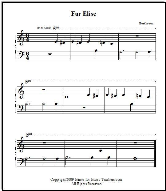 Fur Elise Free Printable Sheet Music