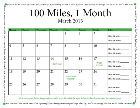 Challenge: Run 100 miles in a month. Free printable!