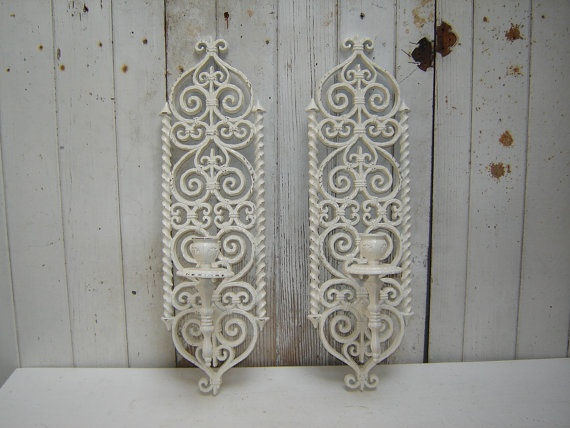 Wall Sconces That Look Like Candles : ornate candle wall sconces - looks like wrought iron - 2 painted whit?