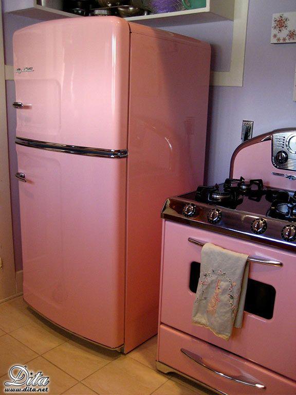 Dita von teese pink stove fridge dream home for Dream kitchen appliances