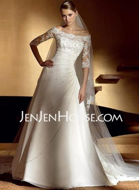 A-Line/Princess Off-the-Shoulder Chapel Train Chiffon Satin Wedding Dresses With Lace Beadwork (002004524) - JenJenHouse.com