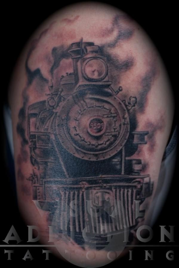 steam locomotive tattoo the image kid has it. Black Bedroom Furniture Sets. Home Design Ideas