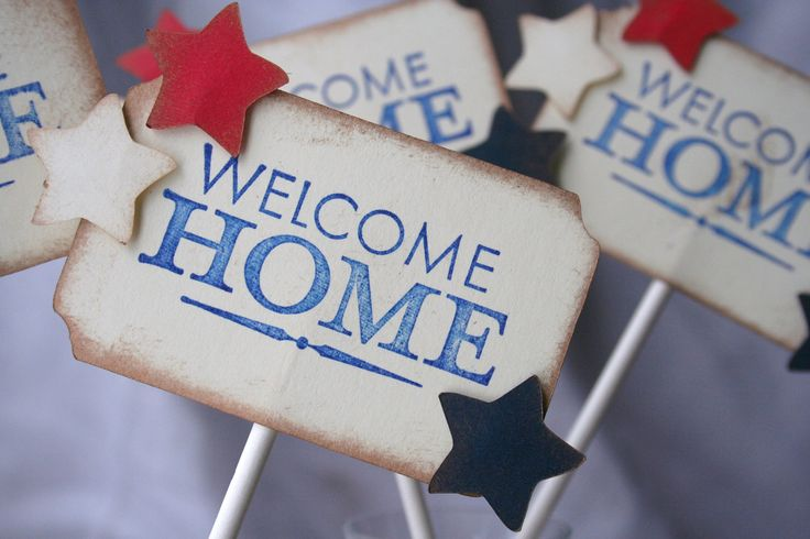 Welcome home military cupcake toppers usmc homecoming for Military welcome home party decorations