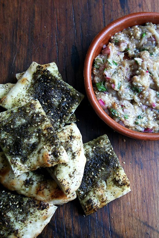 Burnt Eggplant with Za'atar Flatbread | alexandra's kitchen
