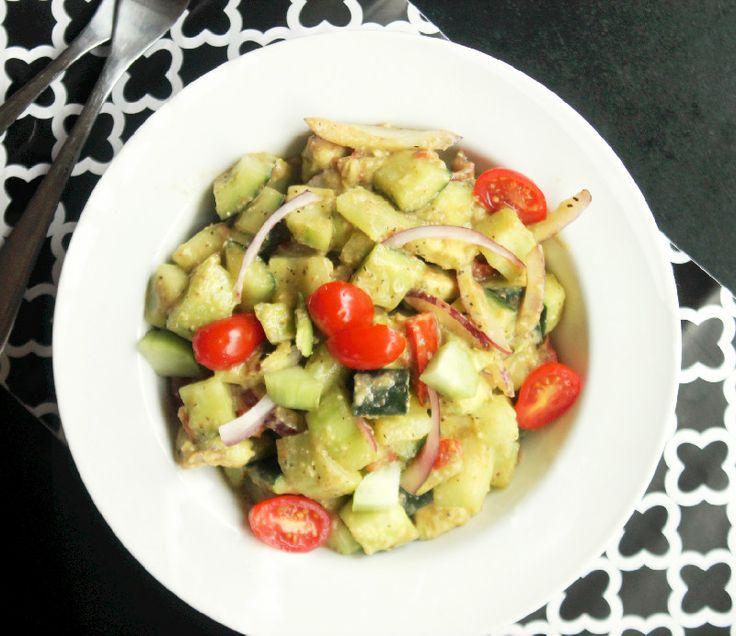 Creamy Avocado Cucumber Tomato Salad | Vegan recipes | Pinterest
