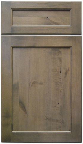 """Dura Supreme Cabinetry Kendall Panel cabinet door style in Knotty Alder with """"Cashew"""" gray stained finish."""