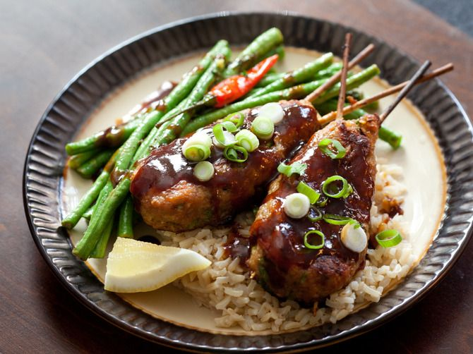 Chicken Yakitori with Long Beans & Brown Rice. Visit http://www ...
