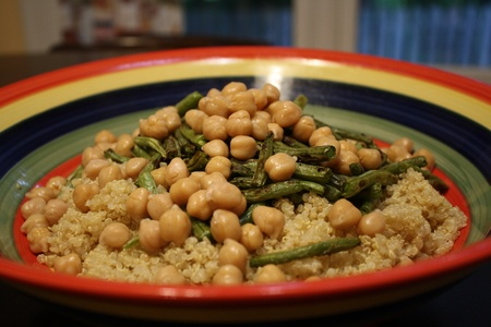 Asian Quinoa Salad w/ Roasted Green Beans and Chickpeas