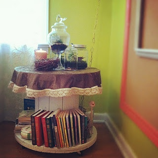 the wire spool bookcase...