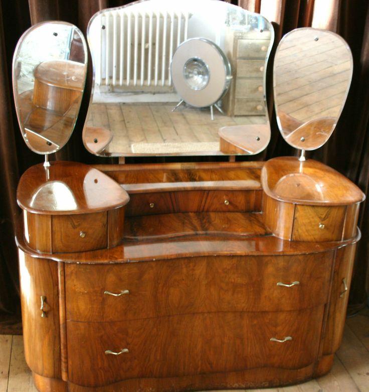 Vintage art deco walnut mahogany veneer dressing table for Retro dressing table