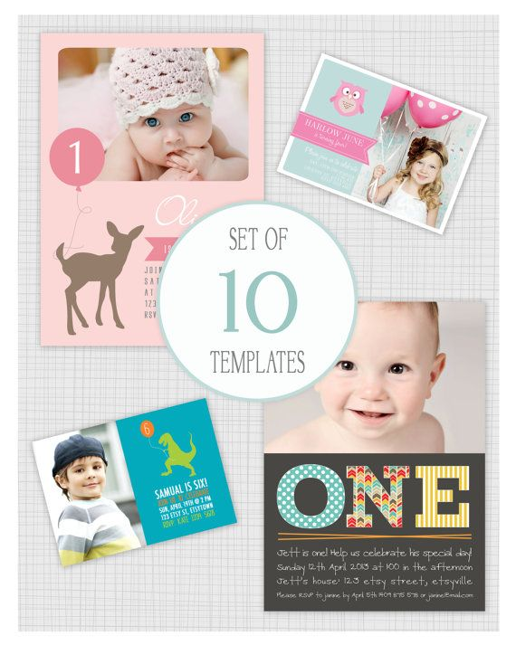 ... : 10 PSD kids birthday party invitation templates. Mini Pack 19