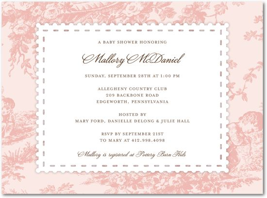 toile frame border baby shower invitations with postage stamp