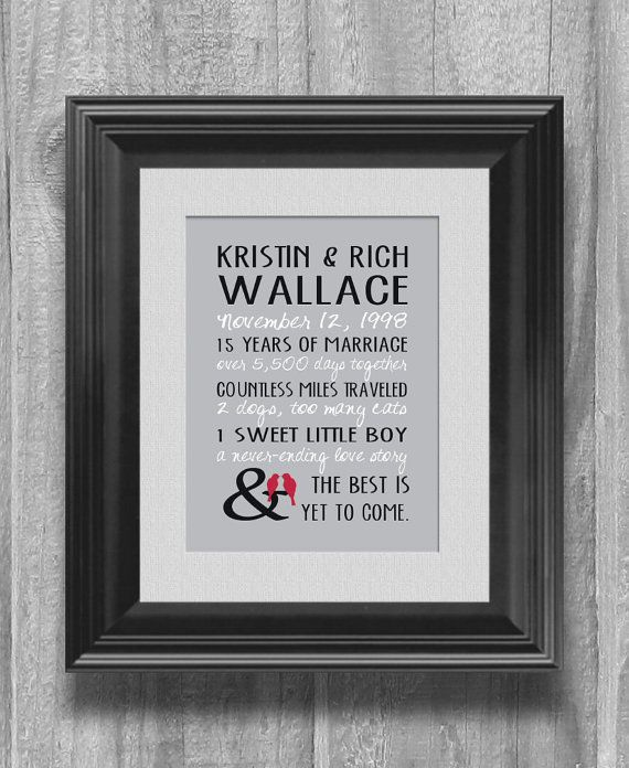 Personalized Wedding Anniversary Gift 5, 10, 15 Year Our Love Story H ...