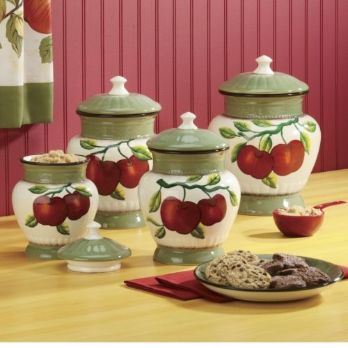 canisters apple on branch 4 piece set the apple orchard casa cortes country apple collection deluxe 4 piece