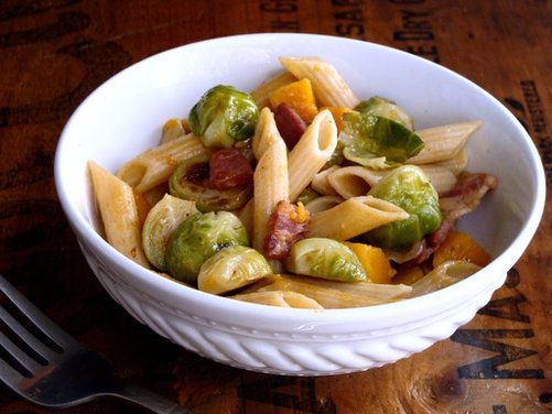Penne with Brown Butter Brussels Sprouts & Butternut Squash | Recipe