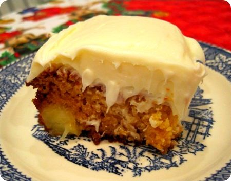 Pineapple cake with coconut-cream cheese frosting.