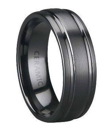 Men's Black Ceramic Wedding Band with Satin Finish and Two Polished ...