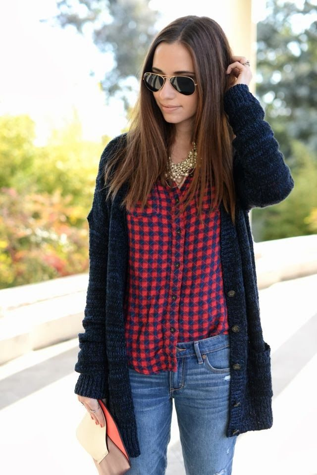 Oversized cardigan, check shirt and blue jean