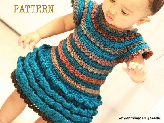 Crochet Ruffle Flower Pattern : Pattern Crochet Ruffle Dress Headband Flower Girl baby ...
