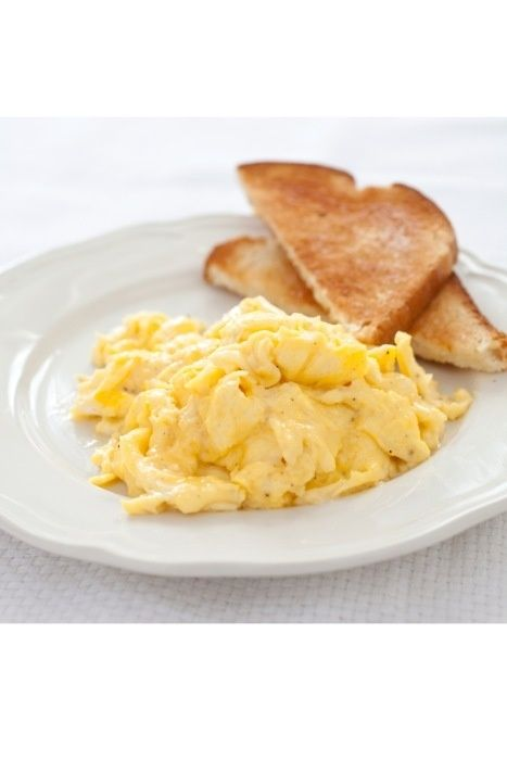 Simple breakfast: scrambled eggs and toast