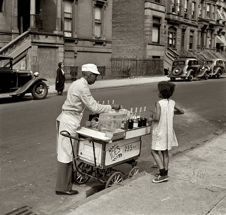 New York, summer 1938. Street vendor of shaved ices.