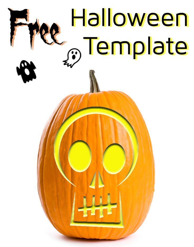 Skull stencil for halloween pumpkins carving diy