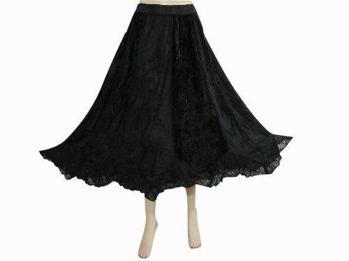Trendy Maxi Skirt Black Embroidered Skirt Womens Bohemian Clothing 32
