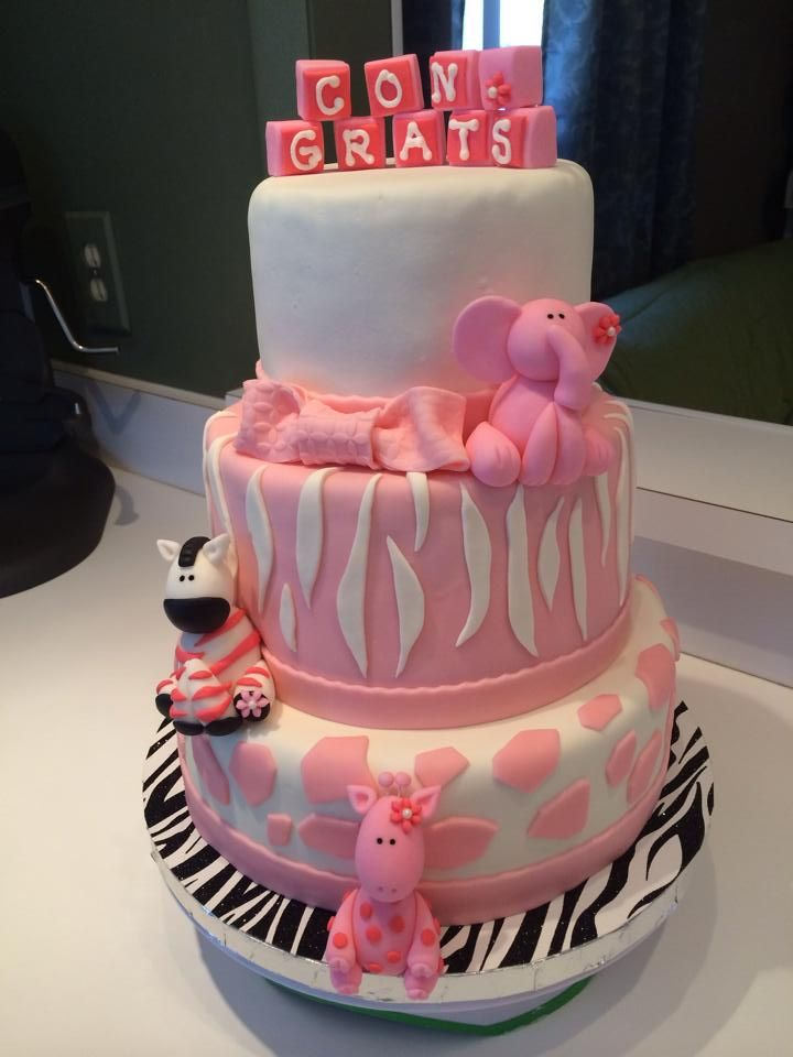 pink safari jungle baby shower cake my creations pinterest
