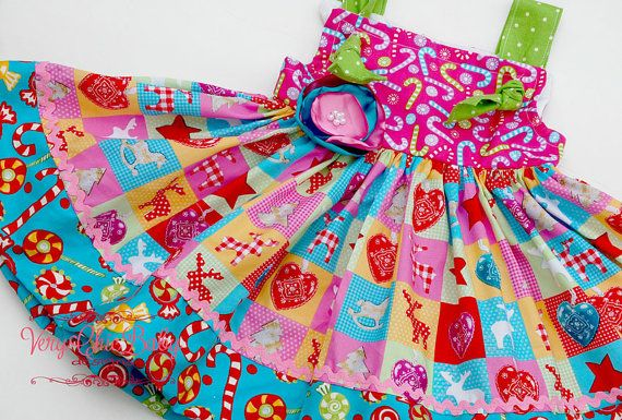 Candy christmas knot dress holiday custom boutique by verychicbaby