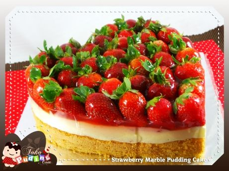 Strawberry Marble Pudding Cake | D'licious Pudding | Pinterest