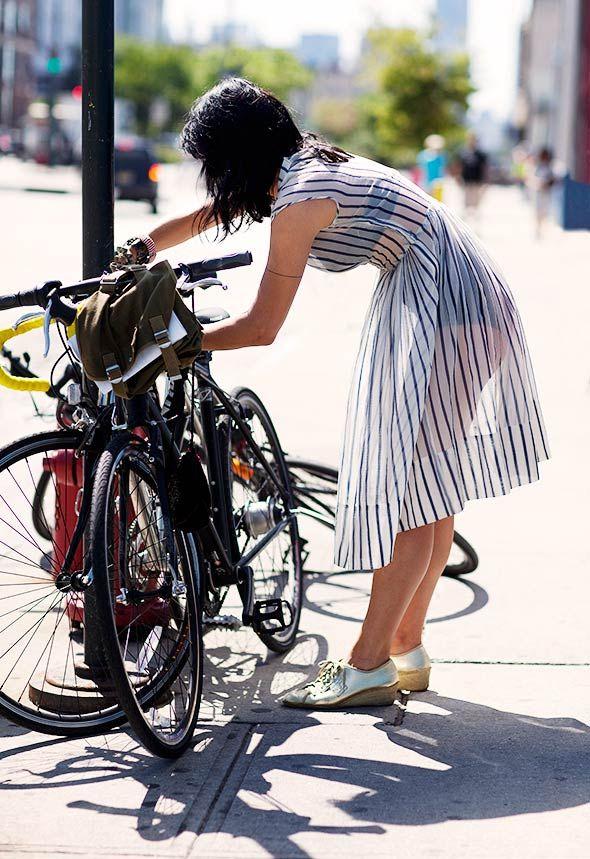 Love it all: sheer dress, vintage cut undergarments, metallic shoes, bike